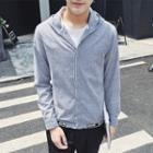 Striped Zip Hooded Jacket