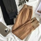 Plain Panel Fleece-lined Sweatpants