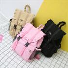 Frill Trim Buckled Canvas Backpack