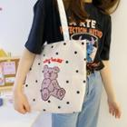 Bear Printed Canvas Tote Bag Dotted Bear - One Size