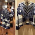 Plaid Fringed Sweater