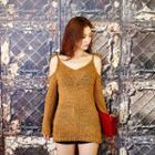 Cutout-shoulder Long-sleeve Knit Top