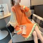 Stripe-panel Sweater Dress