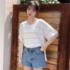 Striped Short-sleeve V-neck Knit Top