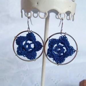 Lace Flower Ring Earrings(blue)