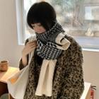 Houndstooth Knit Shawl Beige - One Size