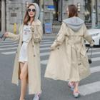 Double Breasted Contrast Hooded Trench Coat