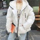 Lettering Strap Hooded Padded Jacket