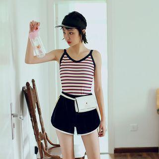 Set: Striped Swimsuit + Bottom