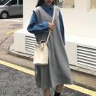 Shirt / Sleeveless Midi Dress