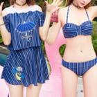 Set: Striped Bikini + Short Sleeve Top + Swim Skirt