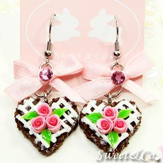 Mini Chocolate Rose Cake Earrings