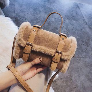 Faux Fur Trim Faux Leather Satchel Bag