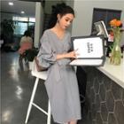 Plaid Long Sleeve V-neck Midi Dress