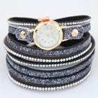 Rhinestone Layered Bracelet Watch