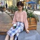 Square-neck Blouse / Plaid A-line Skirt