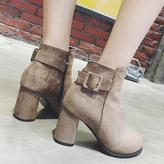Faux Suede Chunky Heel Belted Ankle Boots
