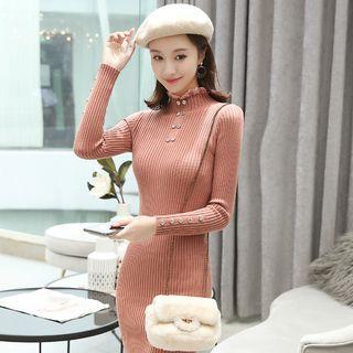 Lace Trim Mock-turtleneck Rib Knit Mini Dress