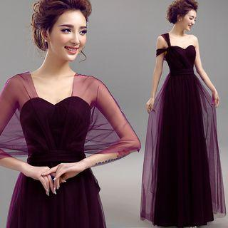 One Shoulder A-line Evening Gown