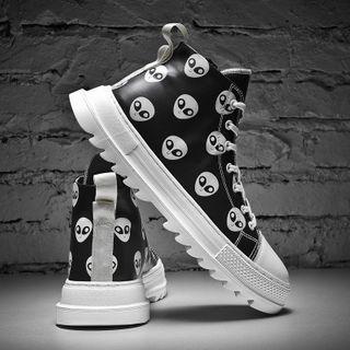 Faux Leather Alien Print Sneakers