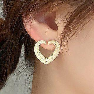 Faux Pearl Alloy Heart Earring 1 Pair - 925 Silver - One Size