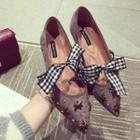 Bow Studded Pointed Flats