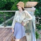 Flower Print Blouse / Mini Pleated Skirt