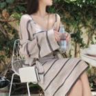Set: Striped Strappy Dress + Cardigan