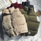Stand Collar Corduroy Padded Vest