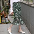 Crinkled Floral Chiffon Midi Dress
