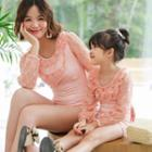 Family Matching Long Sleeve Lace Trim Swimsuit