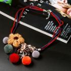 Bobble & Flower Necklace As Shown In Figure - One Size