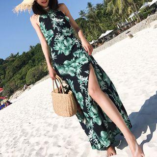 Floral Halter Maxi Sun Dress
