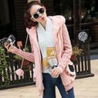 Knit-sleeve Fleece Hooded Jacket