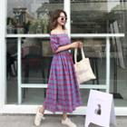 Off-shoulder Plaid Short-sleeve Midi Dress