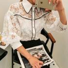 Set: Contrast-trim Lace Blouse + Camisole Top
