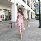 Tiered Floral Chiffon Long Dress