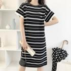 Short-sleeve Embroidered Striped Dress White Stripe - Black - One Size