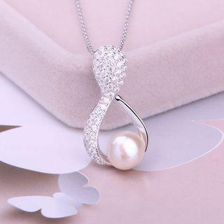 925 Sterling Silver Freshwater Pearl Rhinestone Pendant Necklace
