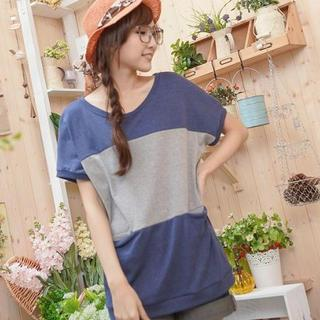 Short-sleeve Color-block Top