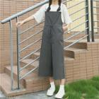 Lettering Strap Cropped Pinafore Jumpsuit