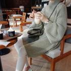 Mock Neck Chunky-knit Mini Sweater Dress
