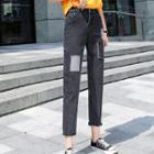 Patched Straight-cut Cropped Jeans