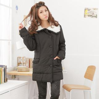 Faux Fur-collar Padded Long Jacket