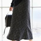 Zip-side Dotted Long Skirt