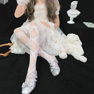 Lolita Lace-up Stockings White - One Size