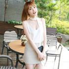 Linen Blend Inset Shorts Skirt
