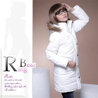 Zip Front Padded Coat With Faux-fur Trimmed Hood