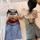 Striped Cross-back Camisole Top