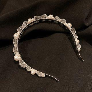 Faux Pearl Hair Band Silver - One Size